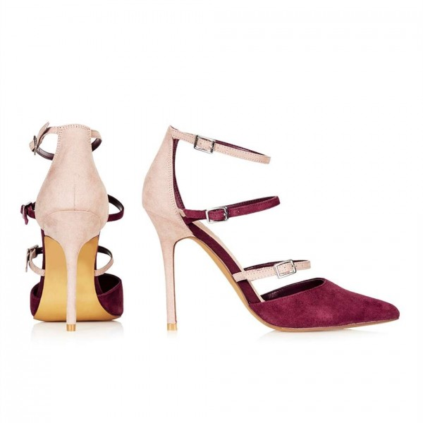 Maroon and Nude Pointy Toe Stiletto Heels Buckles Strappy Pumps image 3