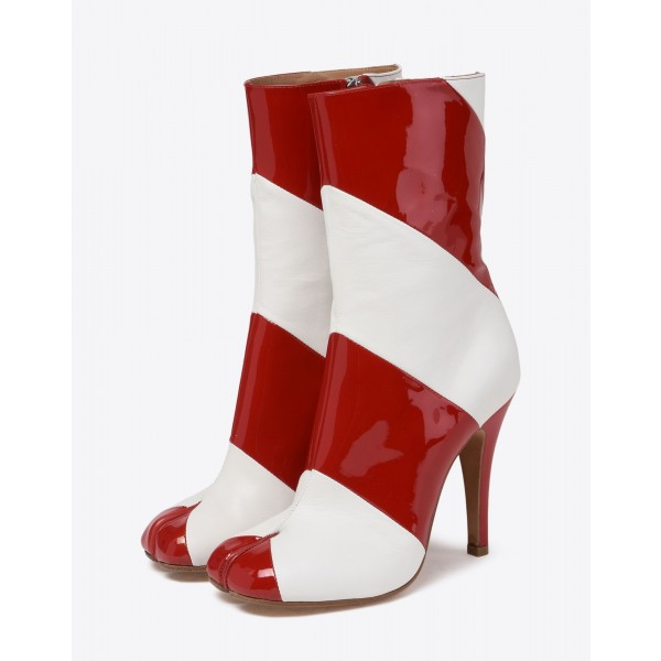Burgundy and White Patent Leather Stiletto Heel Ankle Booties image 1