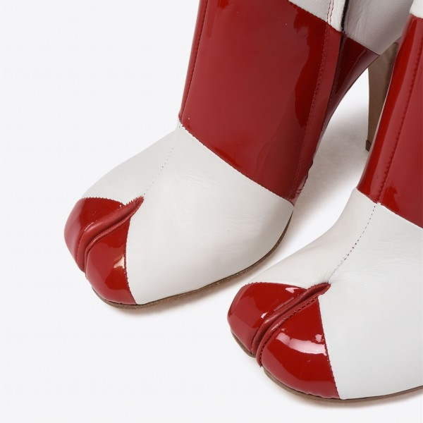 Burgundy and White Patent Leather Stiletto Heel Ankle Booties image 3