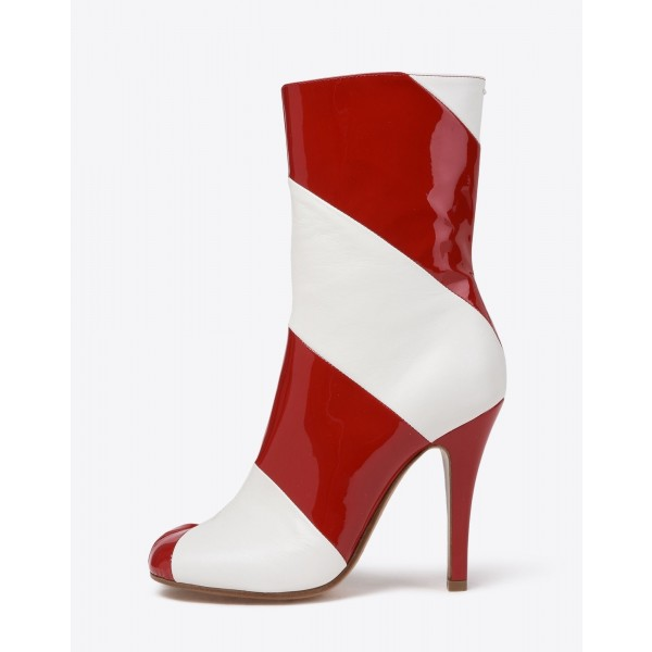 Burgundy and White Patent Leather Stiletto Heel Ankle Booties image 4