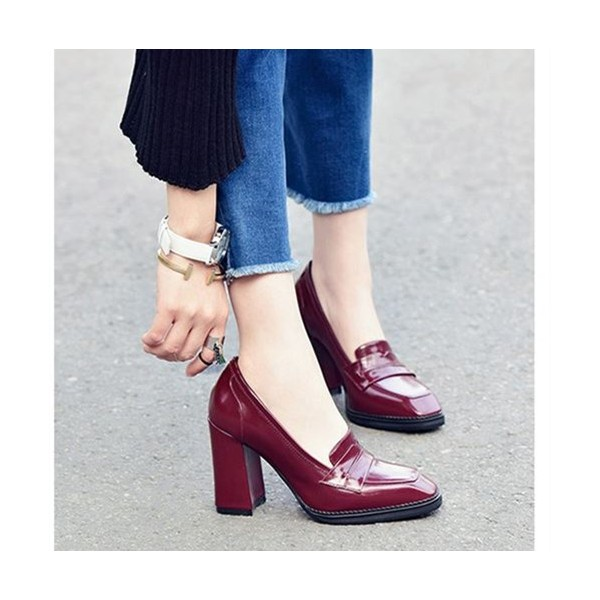 Burgundy Patent Leather Block Heel Square Toe Heeled Loafers for Women image 2