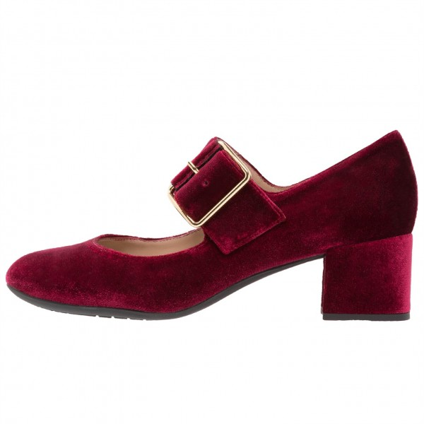 Burgundy Velvet Block Heels Round Toe Buckle Mary Jane Pumps image 2
