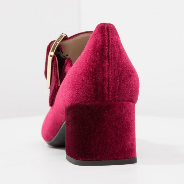 Burgundy Velvet Block Heels Round Toe Buckle Mary Jane Pumps image 4