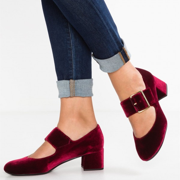 Burgundy Velvet Block Heels Round Toe Buckle Mary Jane Pumps image 1