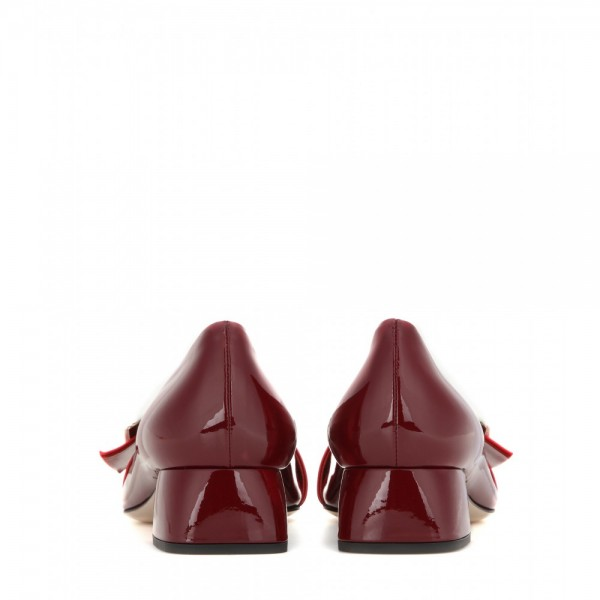 Burgundy Block Heels Vintage Shoes Pointy Toe Comfortable Shoes image 2