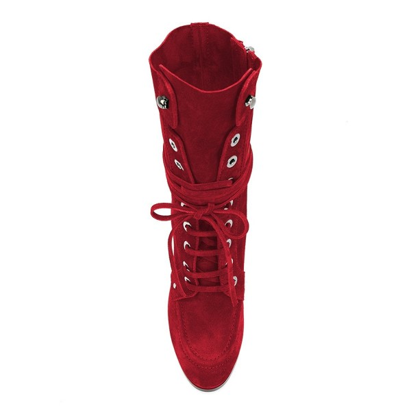 Red Suede Lace up Boots Round Toe Chunky Heel Mid Calf Boots image 2