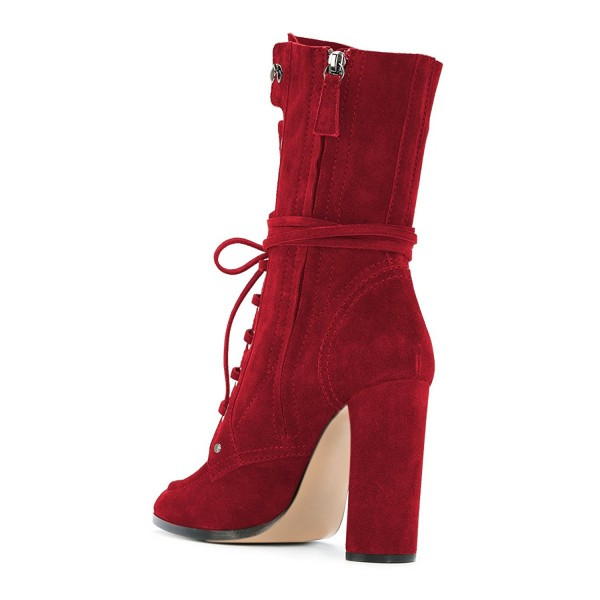 Red Suede Lace up Boots Round Toe Chunky Heel Mid Calf Boots image 4