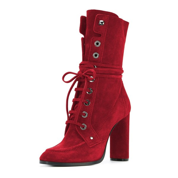 Red Suede Lace up Boots Round Toe Chunky Heel Mid Calf Boots image 1