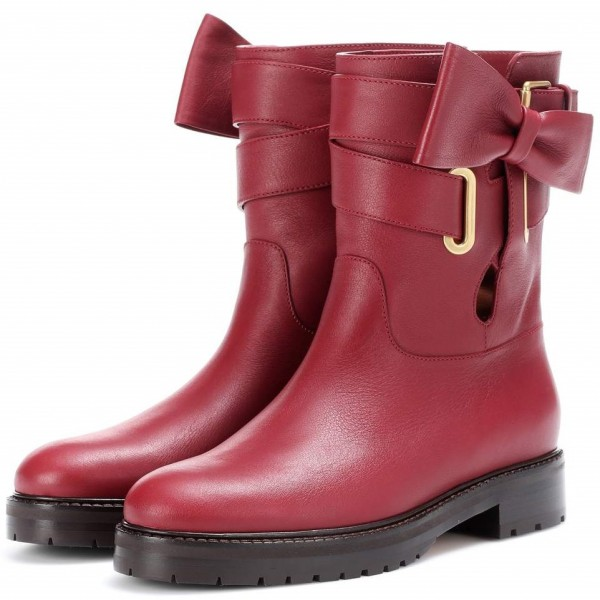 Burgundy Casual Boots Round Toe Comfortable Short Boots with Bow image 1