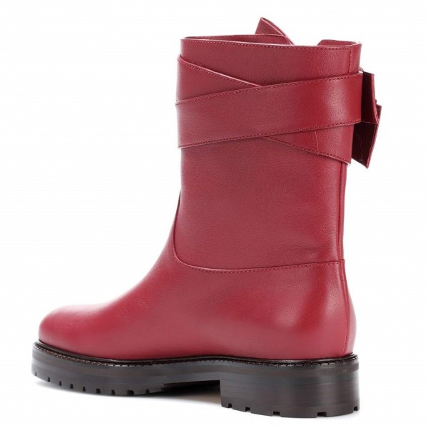 Burgundy Casual Boots Round Toe Comfortable Short Boots with Bow image 2