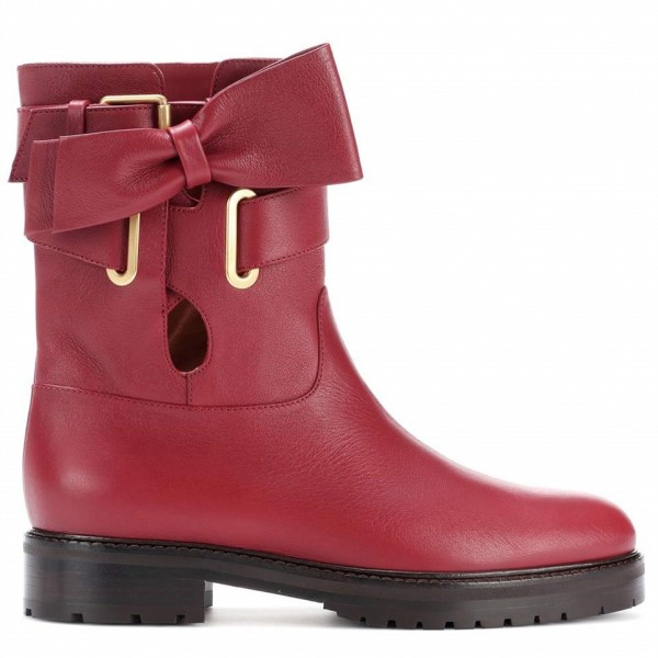 Burgundy Casual Boots Round Toe Comfortable Short Boots with Bow image 3