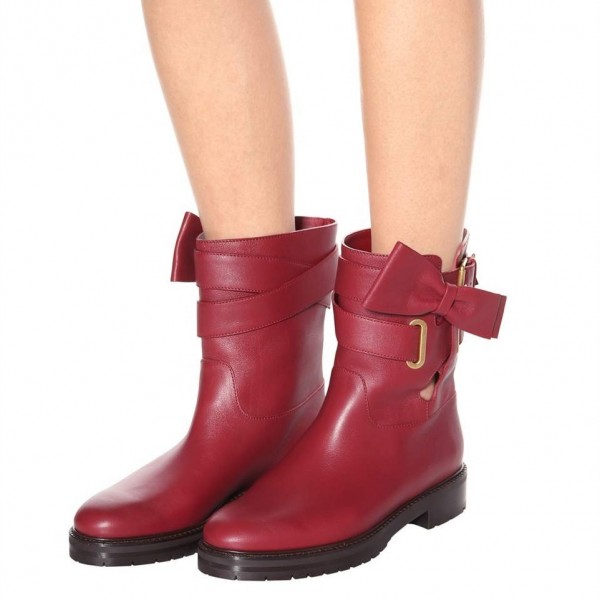 Burgundy Casual Boots Round Toe Comfortable Short Boots with Bow image 4