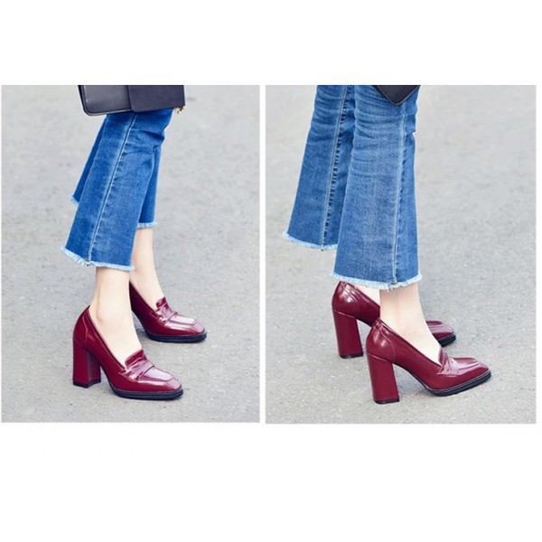 Burgundy Patent Leather Block Heel Square Toe Heeled Loafers for Women image 3