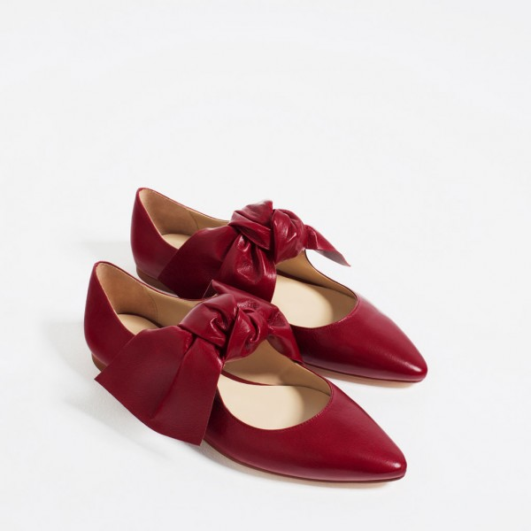 Women's Red Bow Pointed Toe Comfortable Flats Shoes image 4