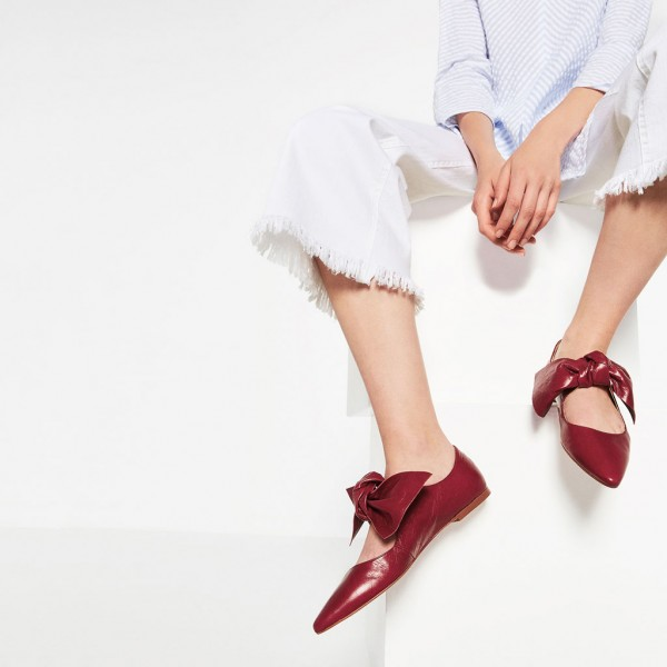 Women's Red Bow Pointed Toe Comfortable Flats Shoes image 5