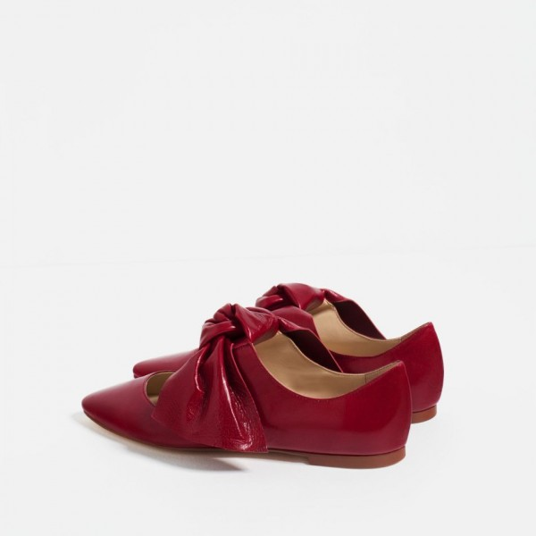 Women's Red Bow Pointed Toe Comfortable Flats Shoes image 6