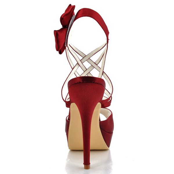 Burgundy Heels Evening Shoes Satin Peep Toe Stiletto Heels Sandals image 2