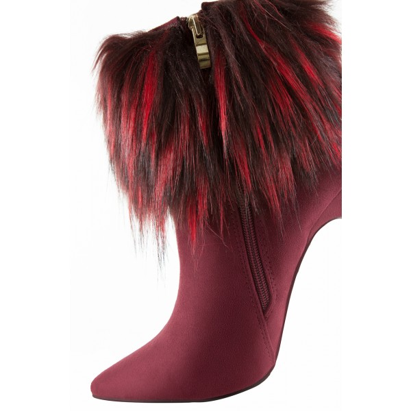 Burgundy Fashion 4 inch Fur Boots Suede Pointy Toe Ankle  Boots image 3