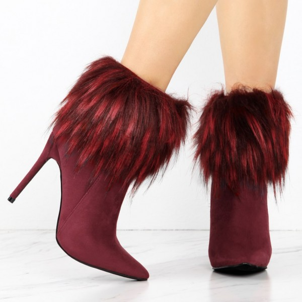 Burgundy Fashion 4 inch Fur Boots Suede Pointy Toe Ankle  Boots image 2