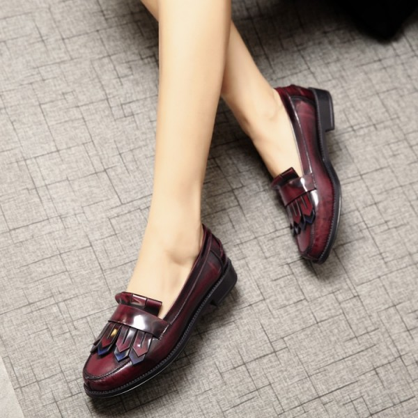 Burgundy Patent Leather Flat Round Toe Fringe Loafers for Women image 4