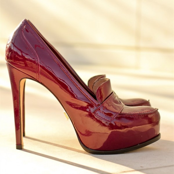 Burgundy Patent Leather Platform Stiletto Heeled Loafers for Women image 3