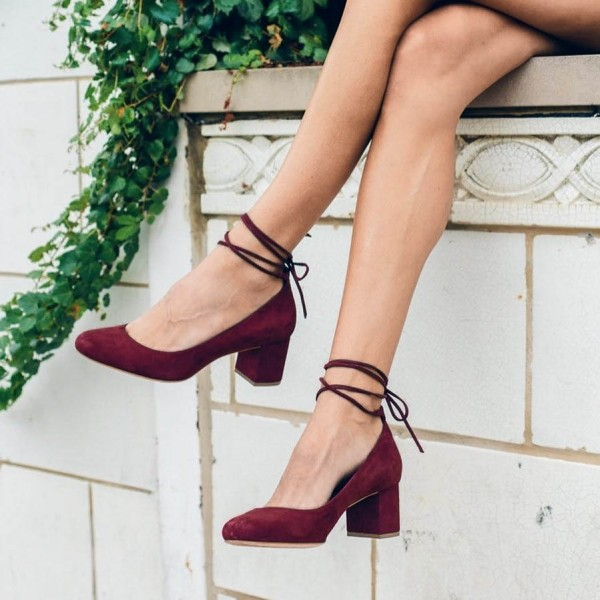 22af22ac10d Burgundy Heels Strappy Suede Block Heel Pumps US Size 3-15 for Music ...