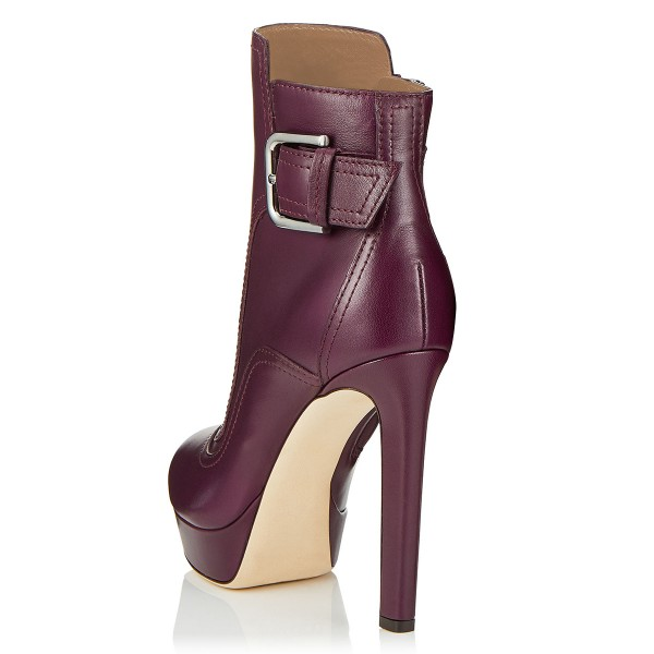 Burgundy Joint Platform Boots Buckle Ankle Boots image 2