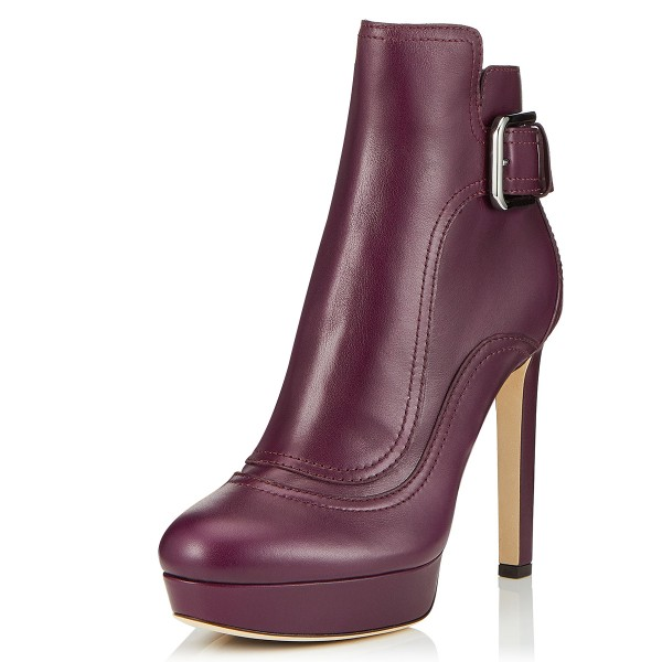 Burgundy Joint Platform Boots Buckle Ankle Boots image 1