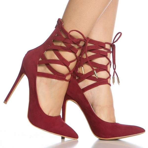 Red Strappy Heels Pointy Toe Lace up Suede Pumps Stiletto Heels image 3