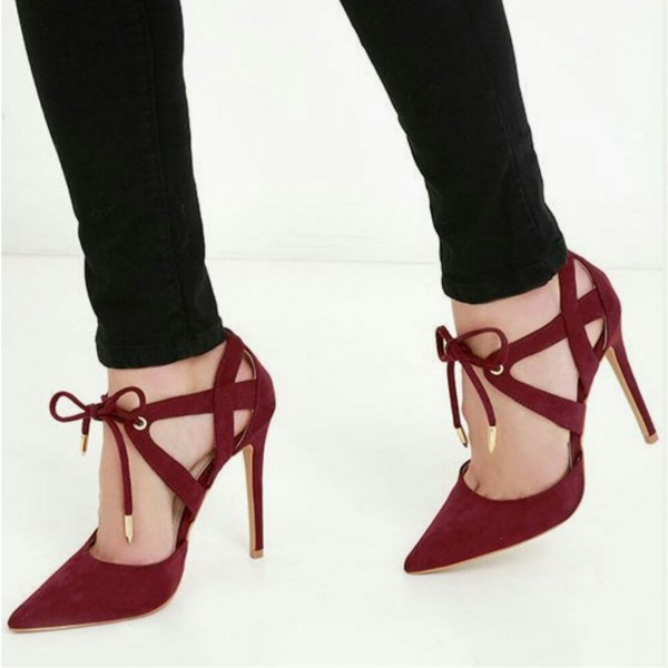 2f9ee366cd9 Burgundy Heels Suede Lace up Pointy Toe Stietto Heel Pumps image 1 ...