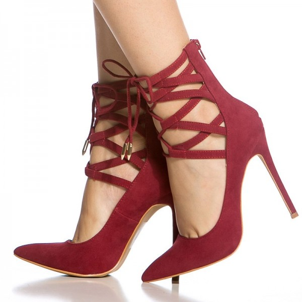 Red Strappy Heels Pointy Toe Lace up Suede Pumps Stiletto Heels image 4