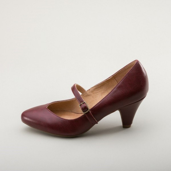 Burgundy Mary Jane Pumps Cone Heel Vintage Shoes for Women image 1