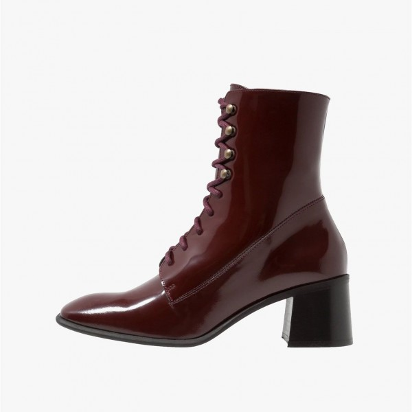 Maroon Patent Leather Square Toe Lace up Chunky Heels Ankle Booties image 2