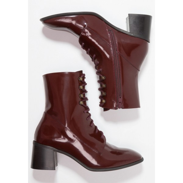 Maroon Patent Leather Square Toe Lace up Chunky Heels Ankle Booties image 4