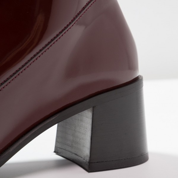 Maroon Patent Leather Square Toe Lace up Chunky Heels Ankle Booties image 3