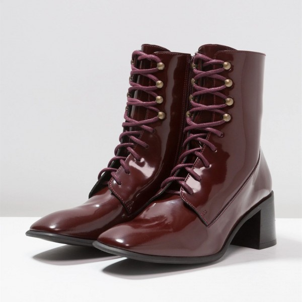 Maroon Patent Leather Square Toe Lace up Chunky Heels Ankle Booties image 5