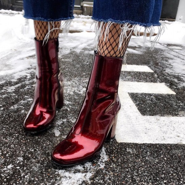 Burgundy Patent Leather Chunky Heel  Boots Fashion Ankle Boots image 1