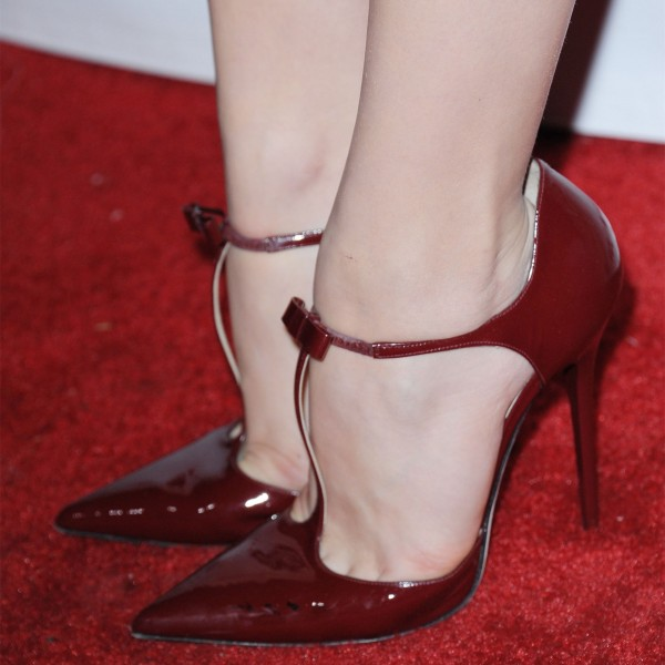 Burgundy Patent Leather T Strap Heels Pointy Toe Stiletto Heel Pumps image 1