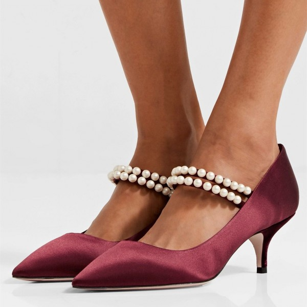 Burgundy Pearl Satin Mary Jane Pumps Kitten Heel Pumps image 1