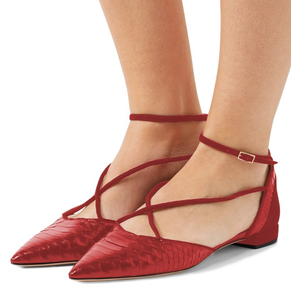 dffeec304f8ca Burgundy Pointy Toe Flats Python Ankle Strap Shoes image 1 ...