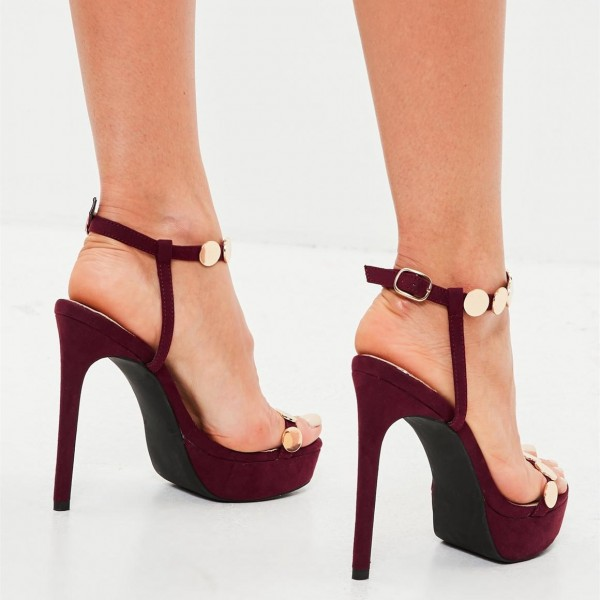 Burgundy Prom Shoes Open Toe Platform Sandals with Studs image 2