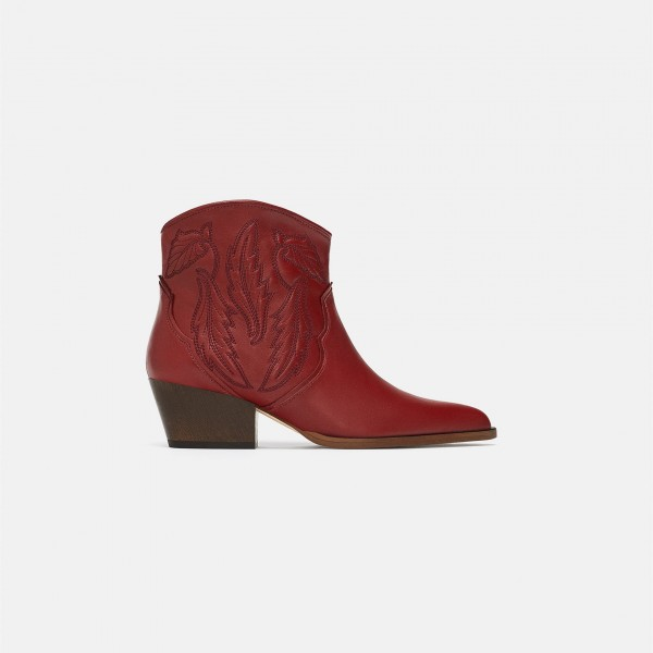 Burgundy Retro Pointy Toe Chunky Heels Ankle Booties image 2