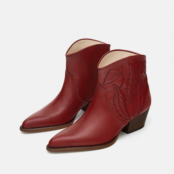 Burgundy Retro Pointy Toe Chunky Heels Ankle Booties image 1