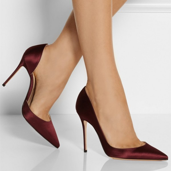 Burgundy Heels Pointy Toe Stiletto Heel Satin D'orsay Pumps image 3