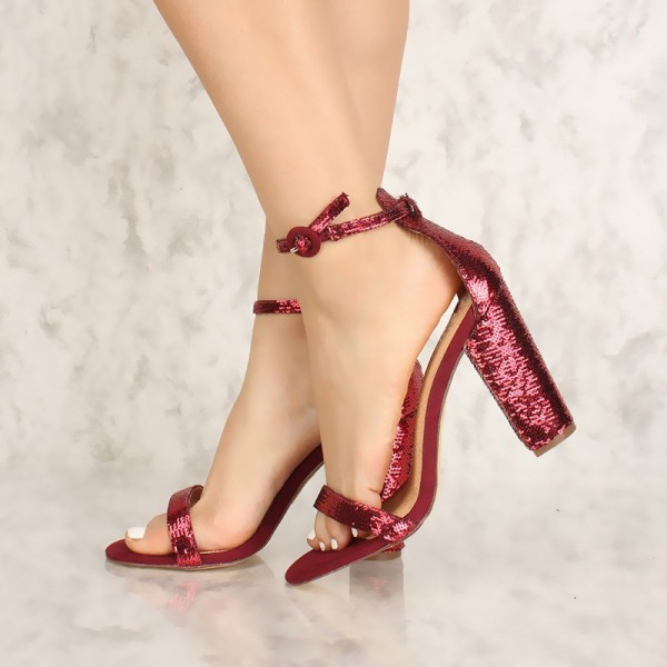 Burgundy Sequined Open Toe Chunky Heels Sandals Prom Shoes image 1