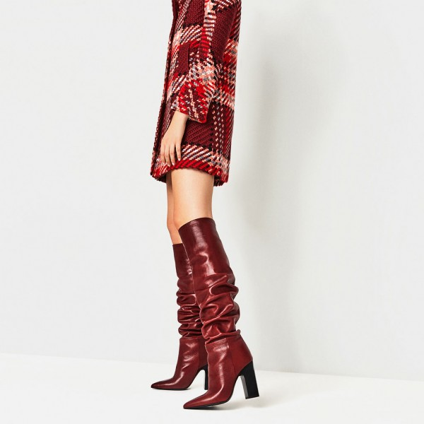 Red Slouch Boots Pointy Toe Chunky Heels Knee-high Boots image 2