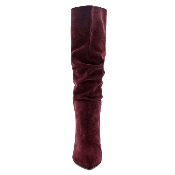 Burgundy Slouch Boots Pointy Toe Chunky Heel Knee High Boots image 2