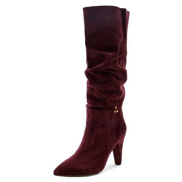 Burgundy Slouch Boots Pointy Toe Chunky Heel Knee High Boots image 1