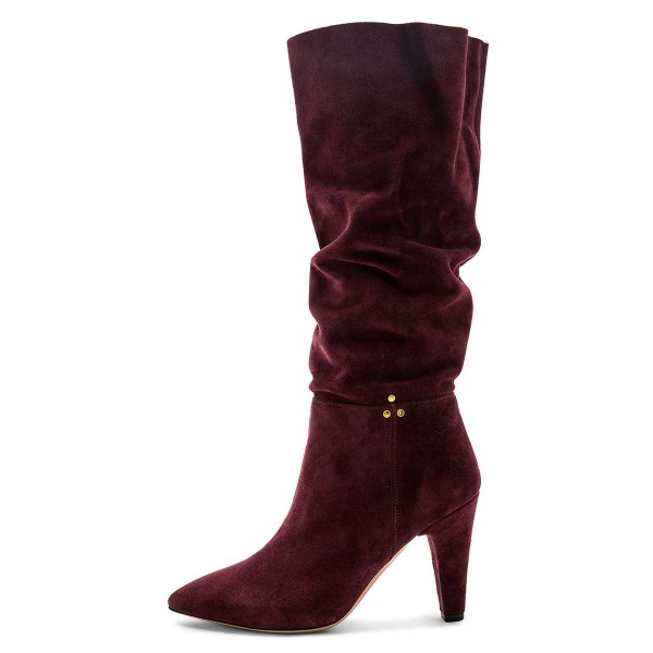 Burgundy Slouch Boots Pointy Toe Chunky Heel Knee High Boots image 3