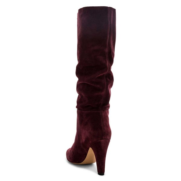 Burgundy Slouch Boots Pointy Toe Chunky Heel Knee High Boots image 4